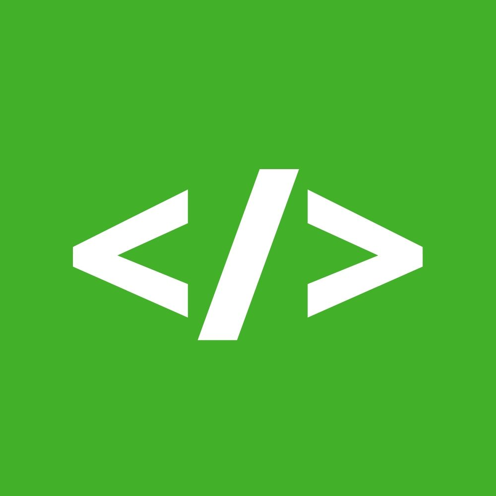 White code brackets over a green background.