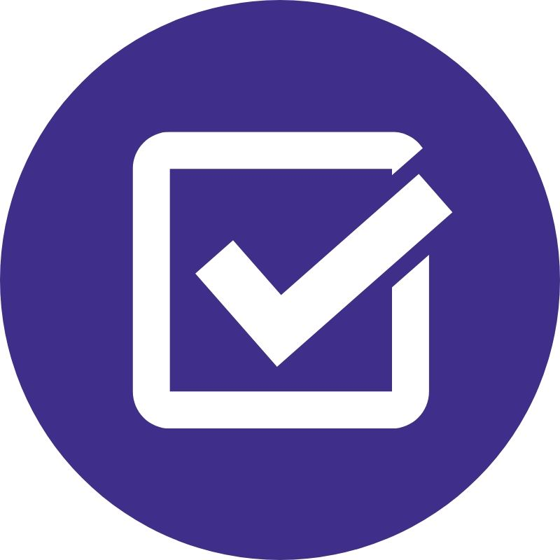 A purple icon with a check mark in box.