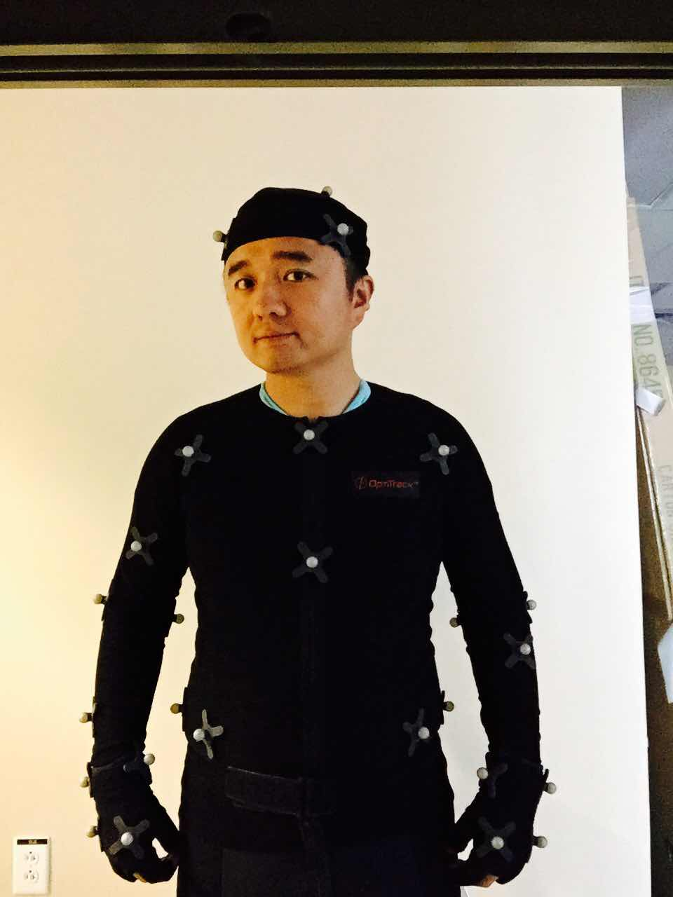 Dr. Chao Mei in a motion capture suit.