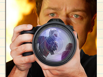 Art piece done by a KSU student featuring actor James McAvoy with a camer in front of him, the lens reflecting Marvel's Ant-Man.