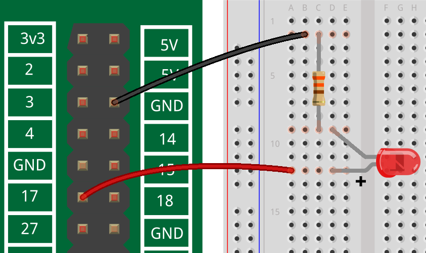 Image of GPIO Fritzing component with breadboard and LED