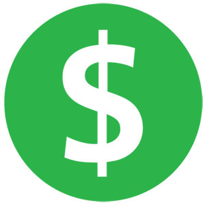 A green circle with a white dollar sign the middle.